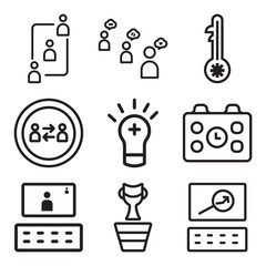 Set Of 9 simple editable icons such as Website, Winner, Video conference