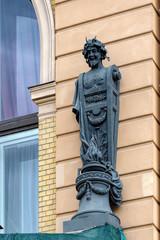 Art Nouveau (Jugendstil) style facade woman sculpture in Saint-Petersburg, Russia.