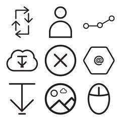 Set Of 9 simple editable icons such as Mouse, Picture, Down arrow