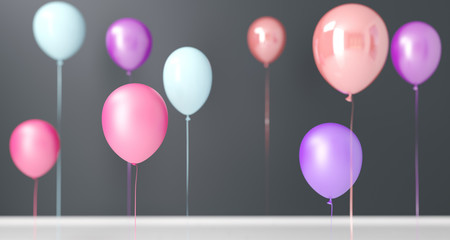 Flying Colorful Baloons In Room Closeup. 3D Rendering