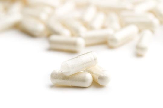 White medicine capsules.