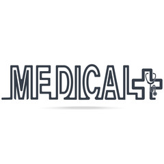 Mecical icon, text and Stethoscope line style icon