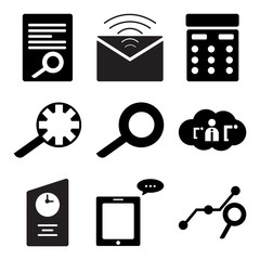 Set Of 9 simple editable icons such as Search analytic, Message on phone, File