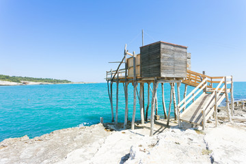 Vieste, Apulia - Fishing trabocco at the rocky beach of Vieste