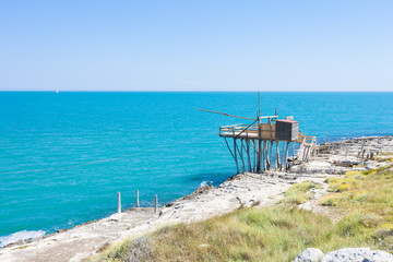 Vieste, Apulia - Traditional fishing trabucco at the beach of Vieste