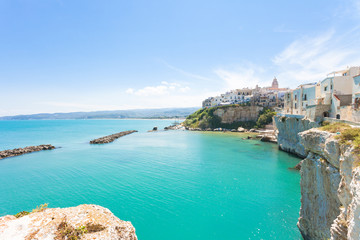 Vieste, Apulia - Turquoise water at the cliffs of the old town in Vieste