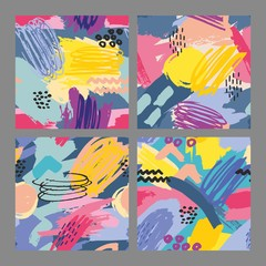 Set of vector seamless patterns with brush strokes