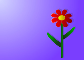Vector illustration, red with yellow center and green leaves flower in paper cut style on purple background with space