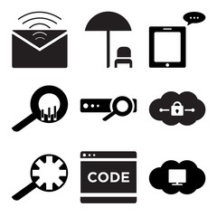 Set Of 9 simple editable icons such as Cloude on computer, Code, Search setting