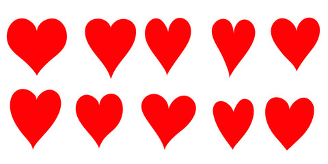 Set of hand drawn red hearts, vector illustration.