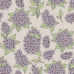 Seamless gentle pattern with lilac branches