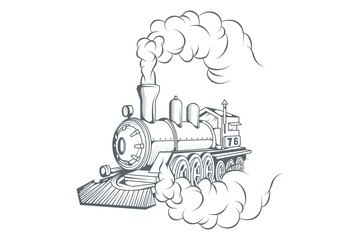 Old train logo. Locomotive drawing. Steam transport. Vector graphics to design.
