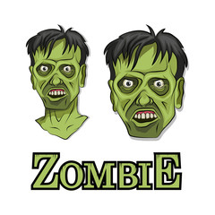 Cartoon Zombie head. Vector graphics to design.