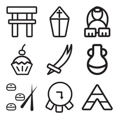 Set Of 9 simple editable icons such as Tipi, Barrel, Sushi
