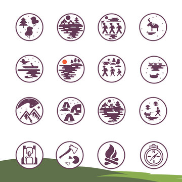 Set of linear icons. Walking and street, forest. Hiking, camping and natural tourism, group tourists. Base camp and accessories. Vector collection of fine lines