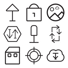 Set Of 9 simple editable icons such as Download, Web, Home