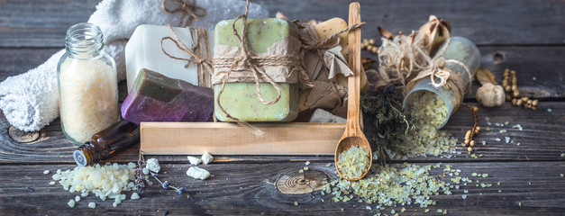 Spa still life on a wooden background