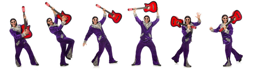 Man in funny clothing holding guitar isolated on white Wall mural