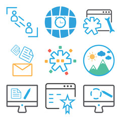 Set Of 9 simple editable icons such as Graphic tablet, Browser, Monitor