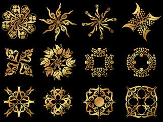 A set of golden floral design icons.