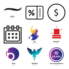 Set Of 9 simple editable icons such as ten years warranty, Pheonix, beta