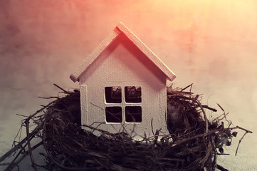 Buying, selling a house, a white house in a nest at  sunset. Your house is an investment.