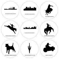 Set Of 9 simple editable icons such as harley, cactus, jack russell terrier