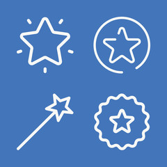 Set of 4 star outline icons