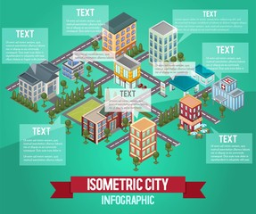 Isometric vector city infographic. Infochart isometric layout. City or town infographic template and elements. Vertical chart with icons and commercial and private building. Vector illustration