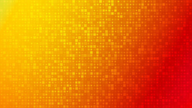 Abstract background of small squares or pixels of different sizes in red and orange colors.