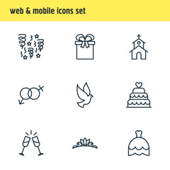 Vector illustration of 9 engagement icons line style. Editable set of firework, champagne, wedding cake and other icon elements.