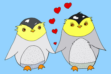 Hand drawn cute couple penguins in love, colored doodle skeched isoleted vector illustration with hearts on blue background