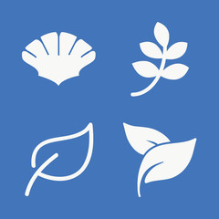 Set of 4 leaves filled icons