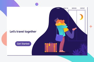 Let s travel together.Happy couple travel together.Romantic inspirational poster with couple in love.Flat Vector illustration