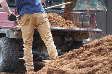 close up on outdoor worker working on adding mulch in the garden