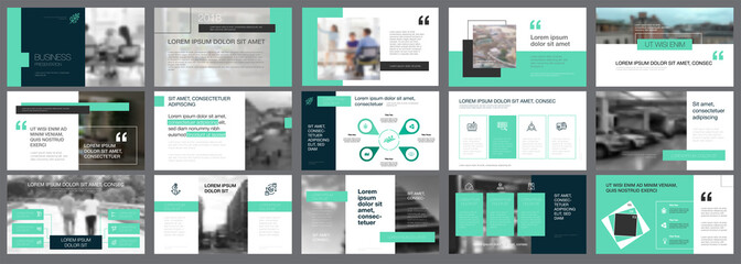 Black and green marketing or planning concept infographics set