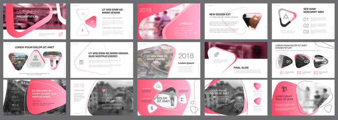 Pink and black marketing or research concept infographics set