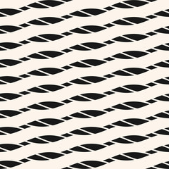 Seamless pattern with diagonal ropes, stripes, slanted lines. Black and white