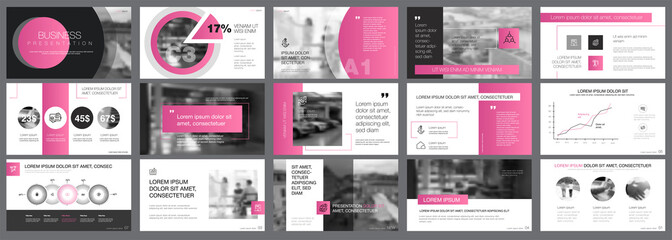 Pink and grey consulting or marketing concept infographics set