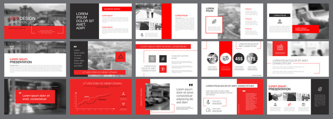Red, white and grey infographic elements for presentation
