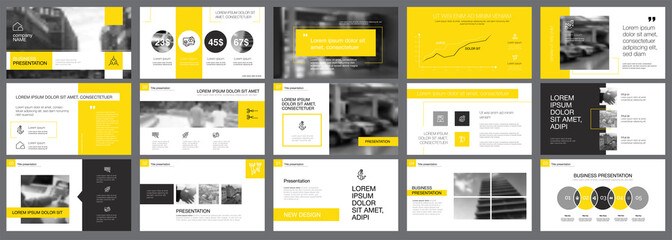 Yellow and black statistics or marketing concept infographic set