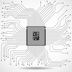 Cpu. Microprocessor. Microchip. Technology symbol. Vector illustration. Eps 10