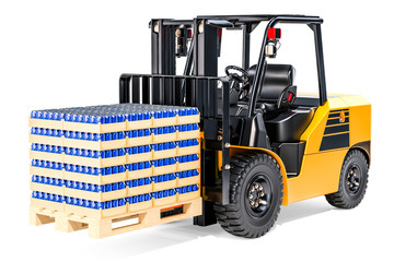 Forklift truck with wooden pallet full of drink metallic cans in shrink film, 3D rendering