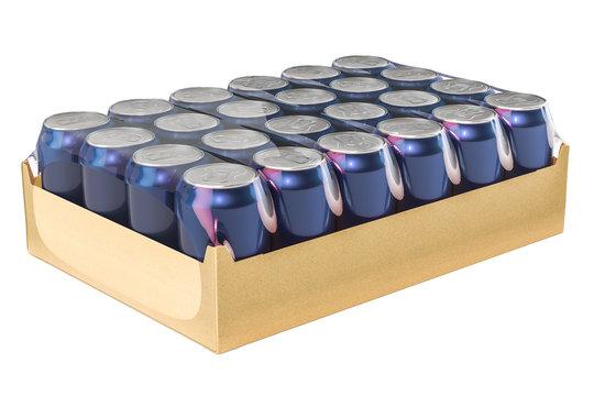 Package of metallic drink cans in shrink film, 3D rendering