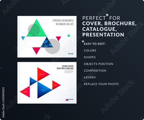 triangular design presentation template with colourful triangles