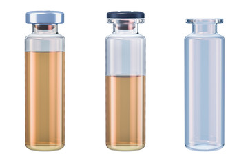 Set of vials with drug and empty, 3D rendering