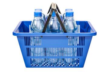 Shopping basket with plastic water bottles in shrink film, 3D rendering