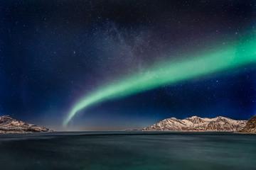 Aurora Borealis (northern lights) Grotfjord - Kvaloya, north Norway