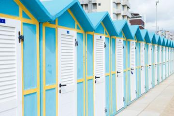 Beach huts on Adriatic sea resort, Italy, Rimini