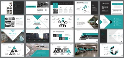 Black and green training or planning concept infographics set